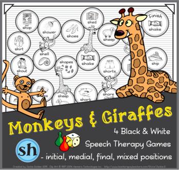 Monkeys & Giraffes Speech Therapy Board Game – 'sh' – Blac
