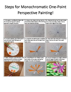 Monochromatic One-Point-Perspective Painting Activity!