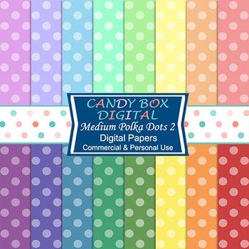 Rainbow Polka Dot Digital Background Papers