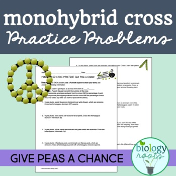 Freebie: Monohybrid Cross Practice Problems: Give Peas A Chance