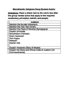 Monotheistic Song Rubric