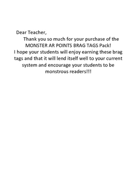 Monster AR 5 to 15 Points Accelerated Reader Reading Brag