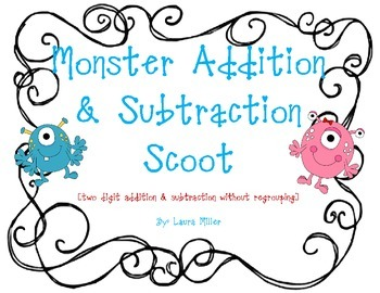 Monster Addition and Subtraction Scoot