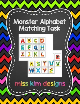 Monster Alphabet Matching Folder Game for students with Autism