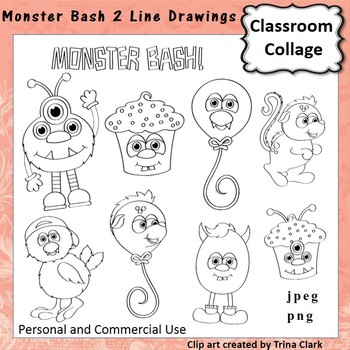 Monster Bash 2 Clip Art b/w line drawings   personal & com