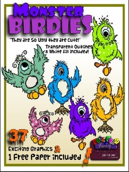 Monster Birdies Clipart (4 FREE Elements Included)  Embell