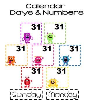 Monster Calendar Days and Number