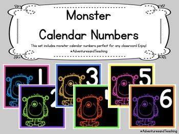 Monster Calendar Numbers