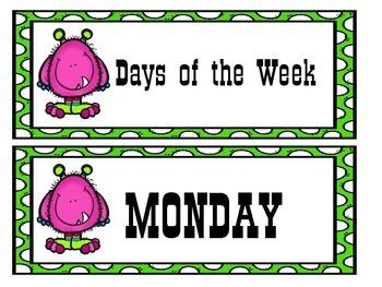 Monster Calendar (Pink and Green Polka Dot Design)