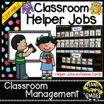 Classroom Helper Jobs (EDITABLE) Monster Theme (polka dots