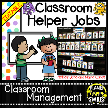 Classroom Helper Jobs (EDITABLE) Monster Theme (polka dots