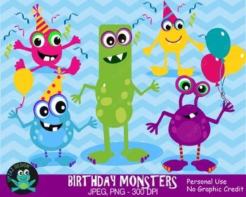 Happy Birthday Monsters {Upzaz Digital Clipart}