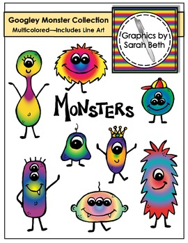 Monster Clipart - Multicolored Googley Monsters Collection