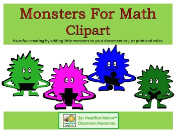 Monster Clipart With Math Signs in a Rainbow of Colors