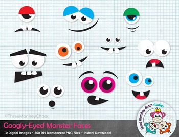 Monster Faces Clipart | Googly-Eyed Monsters | Halloween Clip art