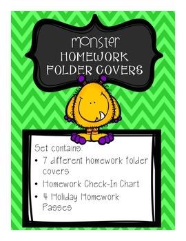 Monster Homework Folder Covers