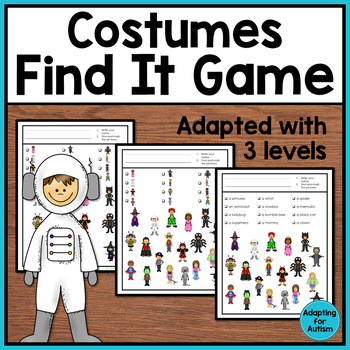 Halloween Costumes I Spy Adapted Game: 3 levels of difficulty