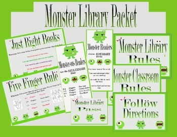 Monster Theme Library/Reading Packet