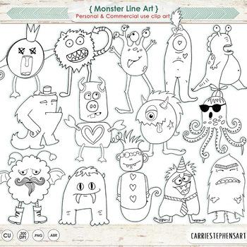 Monster Doodles, Monster LineArt Images, Hand-Drawn Black