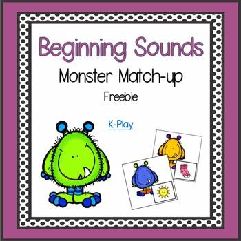 Monster Phonics Match-up Alphabet A-Z Beginning Sounds