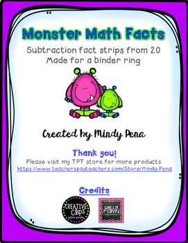 Monster Math Fact Strips Subtraction from 20