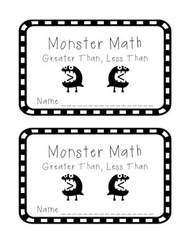 FREEBIE! Monster Math: Greater Than, Less Than Booklet wit