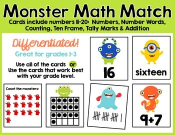 Monster Math Match 11-20 Counting, Number Words, Ten Frame