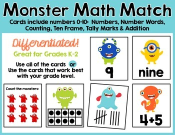 Monster Math Match - Counting, Number Words, Ten Frames, T