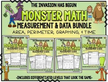 Monster Math!  Measurement & Data.  Area, Perimeter, Time,