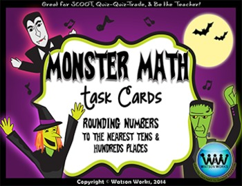 Monster Math: Rounding Task Cards (to the Tens & Hundreds Place)