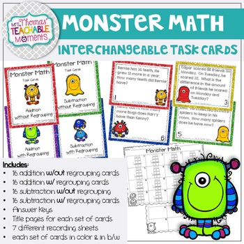 Add & Subtract With & Without Regrouping Task Cards