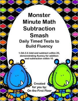 Monster Minute Math Subtraction Smash-Daily Timed Tests to