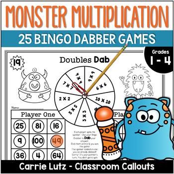 Monster Multiplication ~ 25 Print and Play Bingo Dabber Mu