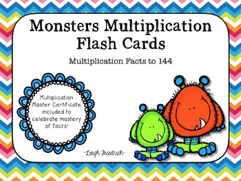 Monster Multiplication Flash Cards with Award Certificates