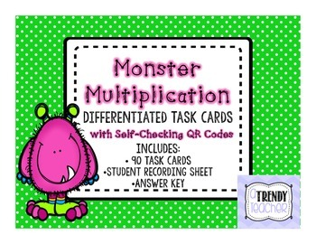 Monster Multiplication Task Cards - With Self Checking QR Codes