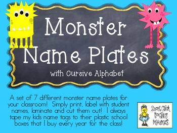 Monster Nameplates with the Cursive Alphabet ~ 7 Different