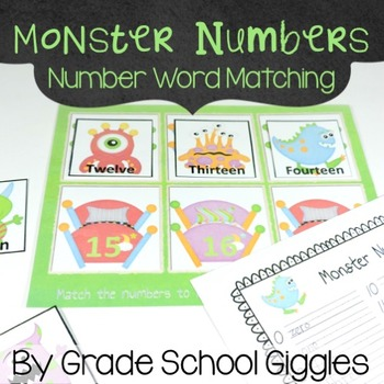 Free Downloads - Monster Number Words Matching Activity