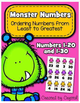 Ordering Numbers Least to Greatest 1-20 and 1-30 (Monster