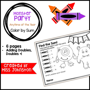 Monster Party Color by Sum (Adding Doubles, Doubles+1)