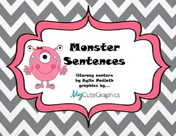 Monster Sentences Pack Literacy Center