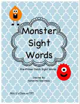 Monster Sight Words Cover Page