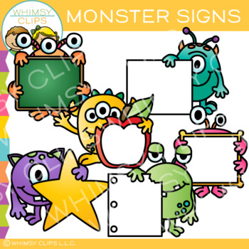 Blank Signs with Monsters Clip Art