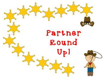 Partner Round up Spelling/Vocabulary game