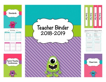 Monster Teacher Binder (Covers, Spines, Forms & Calendars)