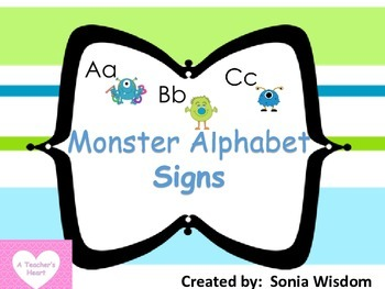 Monster Theme Alphabet Signs