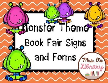 Monster Theme Book Fair Signs and Forms
