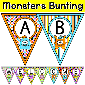 Monster Theme Bunting Banners
