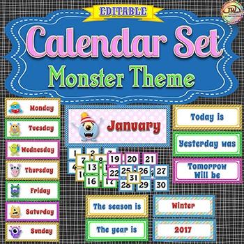 Calendar Set - Monsters Theme