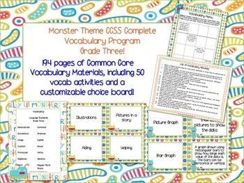 Monster Theme Grade Three CCSS Complete Vocabulary Program