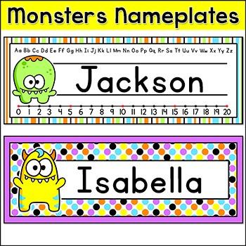 Monster Theme Name Plates